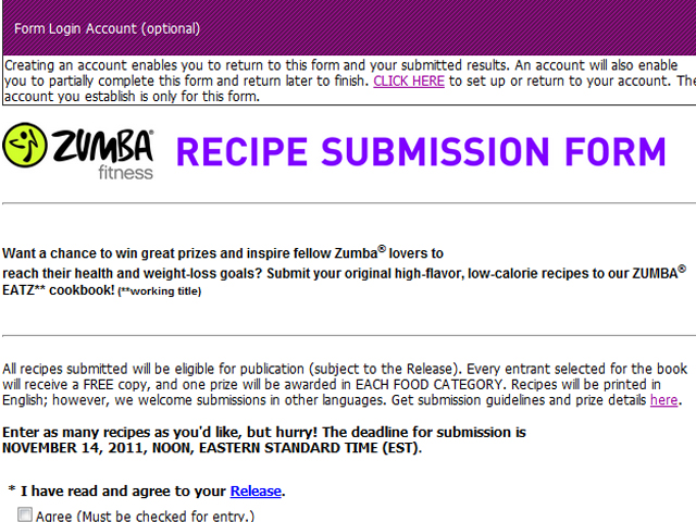 a cookbook for zumba lovers recipe submission form